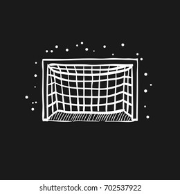 Football goal post icon in doodle sketch lines. Sport ball soccer