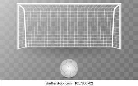Football goal with shadow isolated on a transparent background with a soccer ball