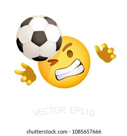 Football goalie emoji. Vector smile goalkeeper who tries to catch the flying soccer ball. Yellow sports emoticon for internet chats of soccer fans. Isolated icon for mobile apps.