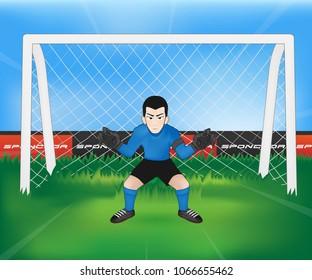 football goalkeeper player cartoon at Football field