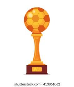 Football Gold Cup Vector Flat Cartoon Illustration