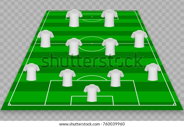football graphic soccer starting lineup squad stock vector