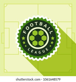 Football green badge, vector illustration on a green background