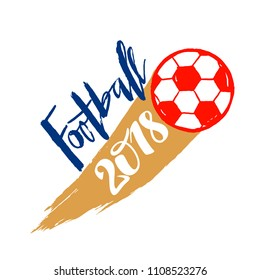 Football hand drawn lettering and flying ball for poster, banner, flyer, logo, icon.