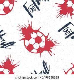 Football hand drawn lettering and flying ball with splashes seampless pattern for a football cup, soccer championship, children soccer team poster, footbal fan textile, sport club promo