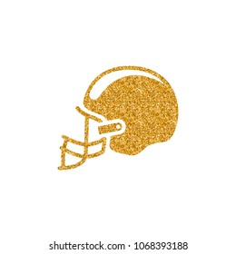 Football hat icon in gold glitter texture. Sparkle luxury style vector illustration.