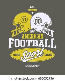 Football Helmet Stylized. Hand drawn Illustration with typo for t shirt and other uses. Vector illustration