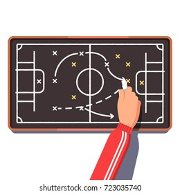 Football or hockey coach is planning an upcoming game drawing on chalk board playbook. Tactics, strategy planning, coaching. Flat style vector illustration isolated on white background.