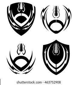 Football icon emblems set