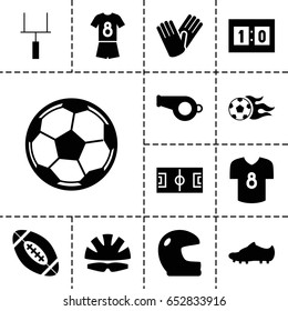 Football icon. set of 13 filled footballicons such as gloves, football ball, goal post, sport score, helmet, soccer trainers, fotball