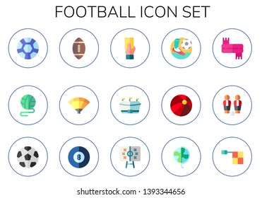 football icon set. 15 flat football icons.  Collection Of - sport, ball, american football, fan, referee, scarf, table soccer ball, black ball, tactics, offside