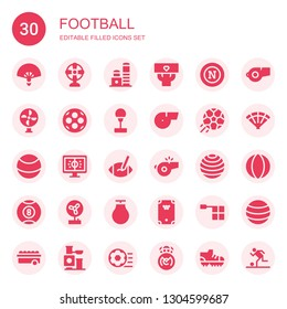 football icon set. Collection of 30 filled football icons included Fan, Toy, Fans, Napoli, Ball, Punching ball, Whistle, Football, Rugby ball, Billiard, Offside,
