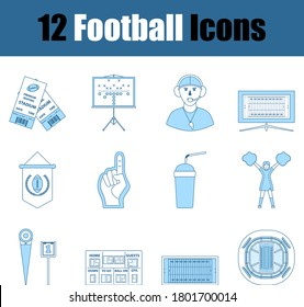 Football Icon Set. Thin Line With Blue Fill Design. Vector Illustration.