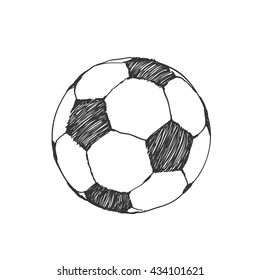 Football icon sketch or soccer drawing in doodles style. Hand-drawn in monochrome. Sport vector moments for tournament
