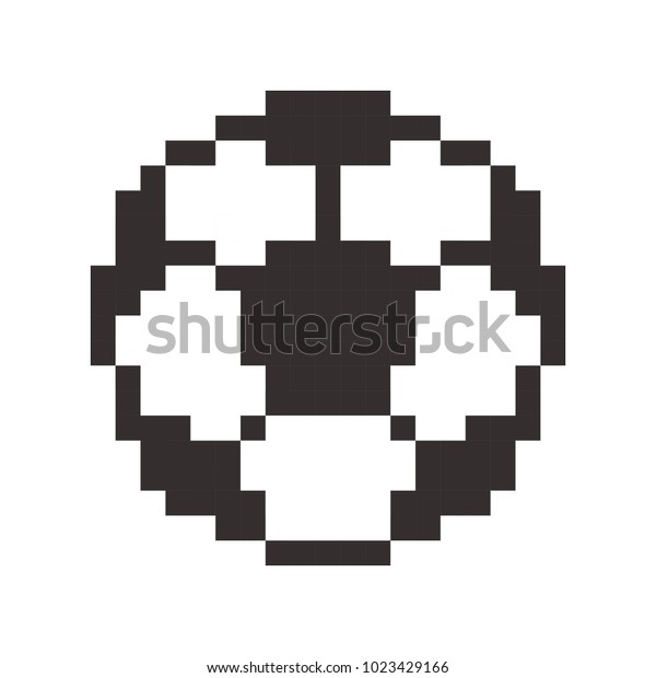 Football Icon Soccerball Pixel Art Cartoon Stock Vector