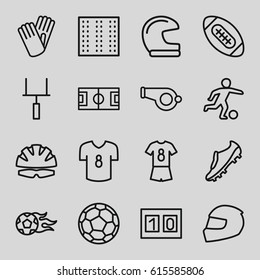 Football icons set. set of 16 football outline icons such as field, gloves, goal post, sport score, helmet, soccer trainers, fotball