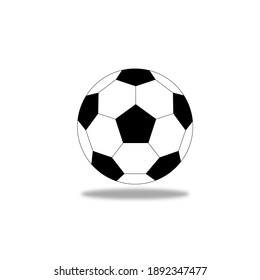 football isolated on white background, Soccer ball icon. Flat vector illustration in black on white