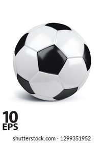 Football isolated on white. Realistic Vector 3d Illustration