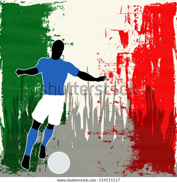 Football Italy, Vector Soccer player over a grunged Italian Flag and cheering crowd