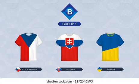 Football jersey with flag, teams of Leagua B, Group 1: Czech Republic, Slovakia, Ukraine.