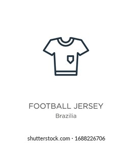 Football jersey icon. Thin linear football jersey outline icon isolated on white background from brazilia collection. Line vector sign, symbol for web and mobile