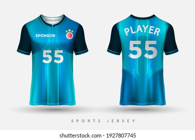 Football jersey and t-shirt sport mockup template, Graphic design for football kit or activewear uniforms, customize logo and name, Easily to change colors and lettering styles in your team.