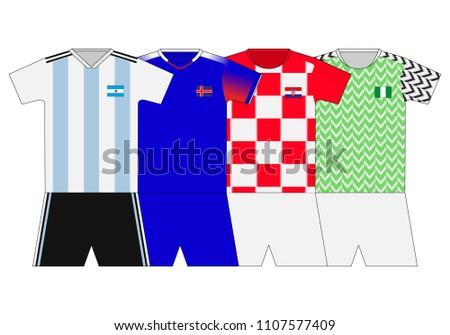 Football Kit 2018 Argentina Iceland Croatia Stock Vector Royalty 6187eecbb