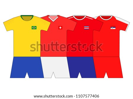 a304fd791af Football Kit 2018 Brazil Switzerland Costa Stock Vector (Royalty ...