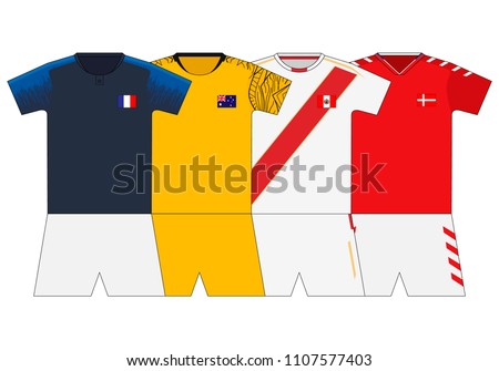 f045a63b406 Football Kit 2018 France Australia Peru Stock Vector (Royalty Free ...