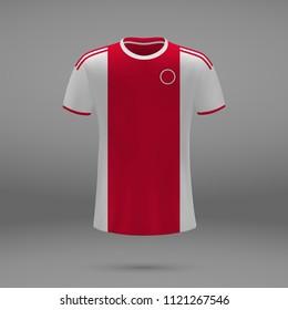 football kit Ajax 2018, shirt template for soccer jersey. Vector illustration