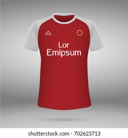football kit of Arsenal London 2017-2018, t-shirt template. soccer jersey. Vector illustration