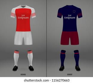 football kit Arsenal London 2018-19, shirt template for soccer jersey. Vector illustration