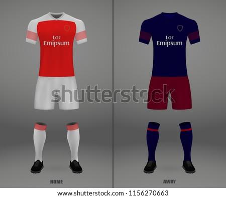881803a7010 Football Kit Arsenal London 201819 Shirt Stock Vector (Royalty Free ...