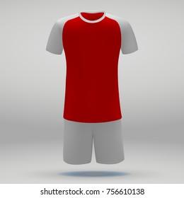 football kit of Arsenal London, t-shirt template for soccer jersey. Vector illustration