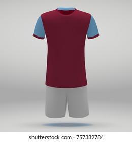 football kit Aston Villa, t-shirt template for soccer jersey. Vector illustration