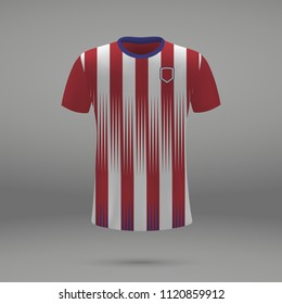 football kit Atletico Madrid 2018, shirt template for soccer jersey. Vector illustration