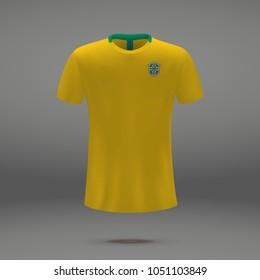 football kit of Brazil 2018, t-shirt template for soccer jersey. Vector illustration
