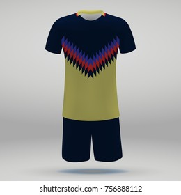 football kit of Club America, t-shirt template for soccer jersey. Vector illustration