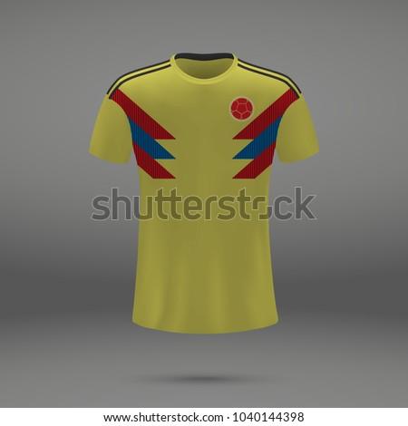 6c7fee67e Football Kit Colombia 2018 Shirt Template Stock Vector (Royalty Free ...