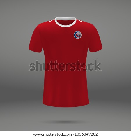 45e122d4e8f Royalty-free stock vector images ID: 1056349202. football kit of Costa Rica  2018, shirt template for soccer jersey. Vector illustration - Vector