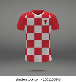 football kit of Croatia 2018, shirt template for soccer jersey. Vector illustration