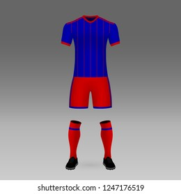 football kit CSKA Moscow, shirt template for soccer jersey. Vector illustration
