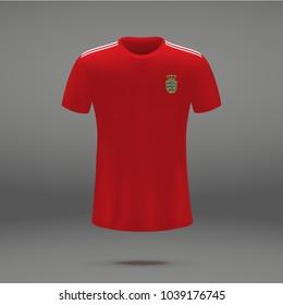 fceb168c5 Football Kit Manchester United 2018 Shirt Stock Vector (Royalty Free ...