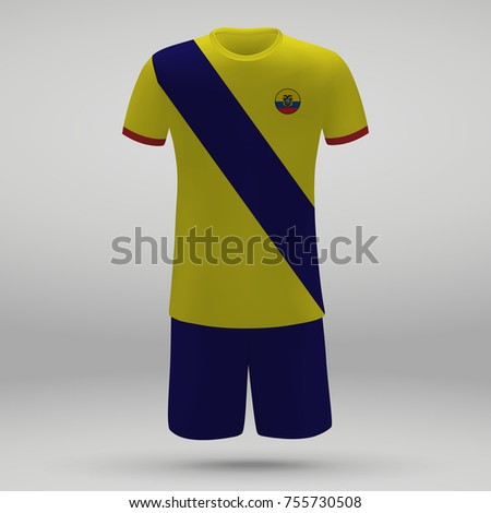 d856d522105 Football Kit Ecuador Flag Tshirt Template Stock Vector (Royalty Free ...