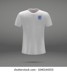football kit of England 2018, shirt template for soccer jersey. Vector illustration