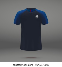 football kit of France 2018, shirt template for soccer jersey. Vector illustration