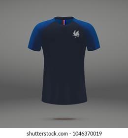 football kit of France 2018, t-shirt template for soccer jersey. Vector illustration