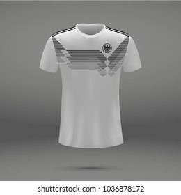 football kit of Germany 2018, shirt template for soccer jersey. Vector illustration