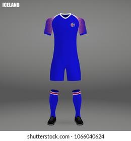 football kit of Iceland 2018, t-shirt template for soccer jersey. Vector illustration