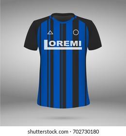 football kit of Inter 2017-2018 , t-shirt template. soccer jersey. Vector illustration